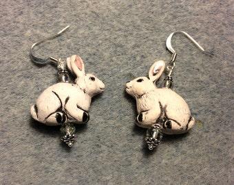 Grey ceramic bunny rabbit earrings adorned with grey Czech glass beads.