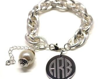 Monogram Charm Bracelet with Pearl-Gold or Silver-Engraved Link Bracelet
