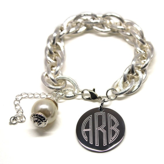 monogram charm bracelet with pearl gold or silver engraved
