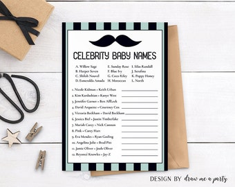 Mustache Baby Shower , Celebrity Baby Names , Mustache Baby Shower Game , Celebrity Name Game , Boy Baby Shower , Mustache Celebrity Game
