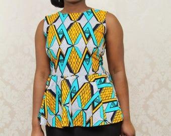 Print peplum top and skirt