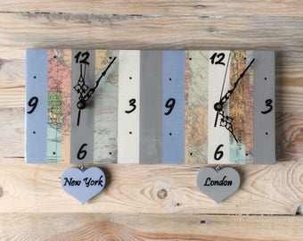 Time Zone Clock | Custom Dual Time Zone | Map Clock | Personalised Time Zone Clock | Gift for Traveller | Housewarming Gift