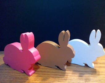 Wooden block style stand alone bunnies