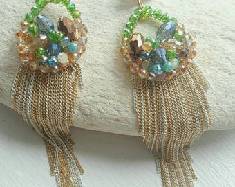 Beautiful Lime Green-Gold-Blur Tone Statement Earrings accented with Asymetrical Tassel!!