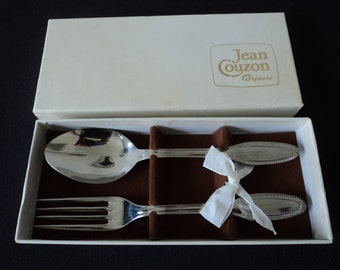 French Vintage Jean Couzon christening fork and spoon  (03989)