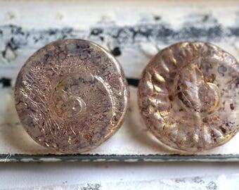 Fossil Snail, Czech Beads, Beads, N2453