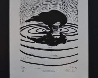 "Lino Print: ""Reflections"""