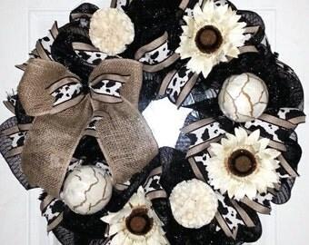 Mesh wreath, black wreath, cow print decor, rustic wreath, farm wreath, country wreath, everyday wreath, Botanical wreath