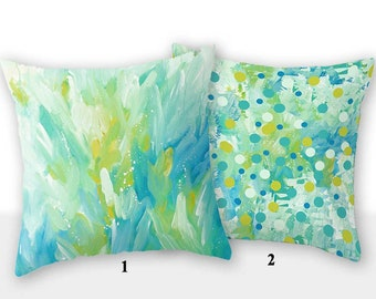 Turquoise Pillow Cover Blue Yellow Green, Floral Pillow, Lumbar Pillow, Decorative Pillow Cushion Cover, Bedroom Decor, Living Room Pillows