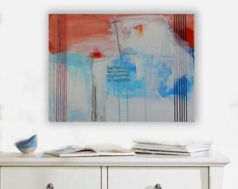 Abstract Painting_Modern art_Red Blue White_Original Artwork_Canvas Art_Horizontal  Contemporary Design_Textured_Mixed Media_Framed