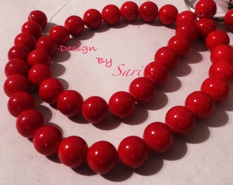 Natural Mashan red Jade Round Beads Dyed, Size about 12 mm in diameter, hole 1.5 mm