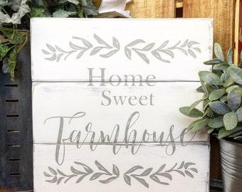Rustic HOME SWEET FARMHOUSE shiplap inspired sign Farmhouse decor,  housewarming gift