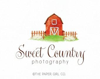 barn logo farm logo premade logo design country logo farmhouse logo photography logo real estate logo vintage logo watercolor logo design