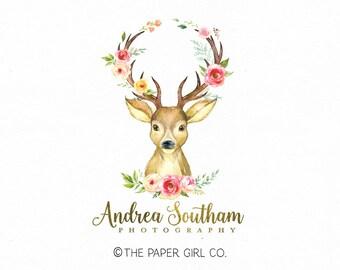 doe logo design deer logo design stationery shop logo paper shop logo planner shop logo premade logo baby shop logo kids boutique logo