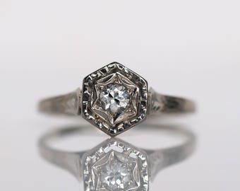 Circa 1940's Art Deco 20K White Gold .04ct Old European Cut Diamond Engagement Ring - VEG#823