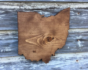Wood State Cutout - Ohio OH Wooden Cutout Wall Art Hanging Sign State Sign