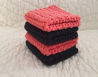 Exfolition wash Crochet Washcloth  knit Dishcloth ,Set of 4 Cotton Washcloths