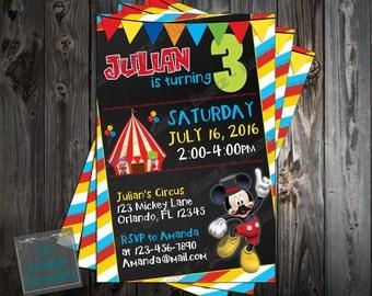 Mickey Mouse - Circus - Birthday Party Invitation - Printable