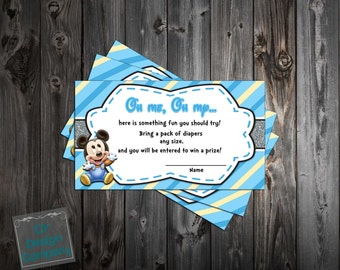 Baby Mickey Mouse - Baby Boy - Baby Shower - Diaper Raffle Ticket  Printable