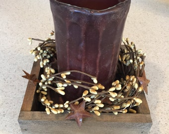 "Primitive Wood Candle Tray Centerpiece with 6"" Pillar Candle and Pip Berry Ring"