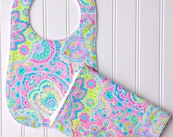 Pretty Colorful Paisley Baby Bib and Burp Cloth Set