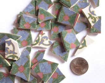 35 Broken China Pieces, Mosaic Tile Pieces, Tile Mosaic Supply, Pieces for Mosaics, China Mosaic Tiles, Broken Porcelain Plate, Art Supplies