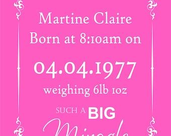 Personalised Baby Print (Girl Big Miracle).