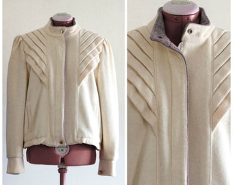 1980s cream wool jacket with mandarin collar and pleated details