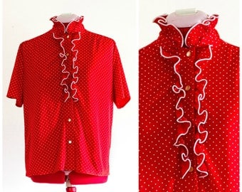Red and white polka dot blouse with ruffle collar