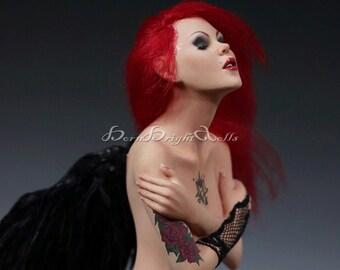 OOAK Sculpture Ouija Goth Angel Tattoo Halloween Dia Muertos Fantasy Art Doll Handmade Clay Figurine Realistic Lifelike Original by BBD