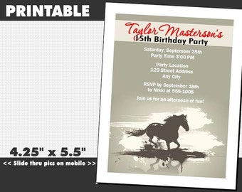Horse Birthday Party Invitation, Printable, Equestrian Theme, Girl or Boy, Child or Adult Invites