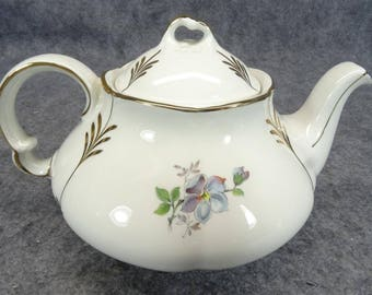 Ellgreave Ironstone Lidded Teapot with Yellow/Pink Floral Design c. 1970's