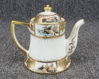 """Vintage Nippon Hand Painted 6"""" Porcelain Tea Pot"""
