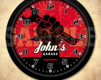 Mechanic - Man Cave - Garage - Personalized Retro-Style Wall Clock