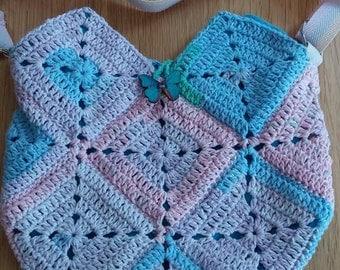 Cotton candy crochet festival bag.