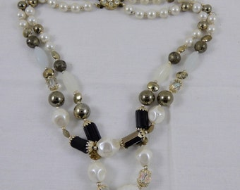 Vintage AB Glass Faux Pearl Double Strand Necklace Rhinestone Encrusted Clasp