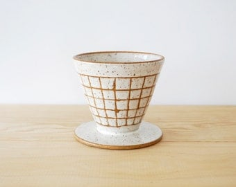 Made to Order | Grid white ceramic coffee pour over by MUD TO LIFE
