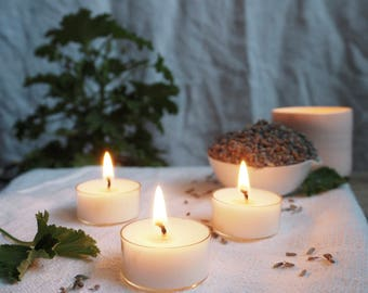 Six Lavender & Rose Geranium Scented Soy Wax Tealights