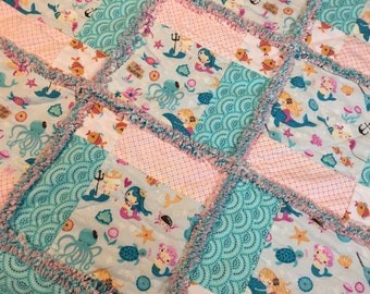 Baby Rag Quilt, Rag Quilt, Mermaid baby Quilt, mermaid baby blanket, baby girl bedding, baby shower gift, mermaid baby girl bedding,