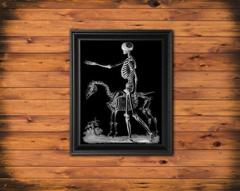 Halloween Decor, Human Skeleton Art Print, Human and Horse Skeleton, Halloween Wall Art, Black and White Art Print, Skeleton BW3