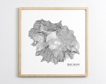 Mt. Rainier Washington Art Print - Topographic Map