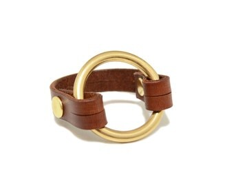 Brown Brass X Leather O-Ring Bracelet, Leather Bracelet, Leather and Metal Bracelet, Leather Cuff, Leather Circle Bracelet