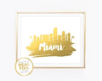 Miami Skyline,  Florida, United States, Real Foil Print, Silver foil, Gold foil, Home Decor, Wall Art, Gallery Art, Modern Art.