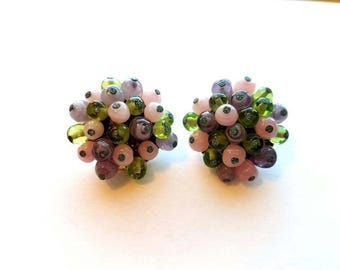 Vintage Japan Signed Pink Purple and Green Glass Beads Cluster Earrings
