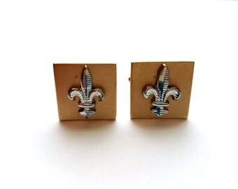 Vintage SWANK Men's Gold and Silver Fleur De Lis Cuff Links