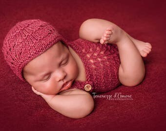 Romper and bonnet/hat Newborn photography handmade creations MADE IN ITALY 100%