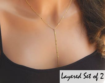 Gold Layered Lariat Necklace • Gold or Silver Multi Strand Necklace •Layered Lariat • Two (2) Necklaces• Gift for Her