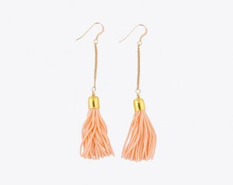 Tassel & Chain Earrings - Peach and Gold