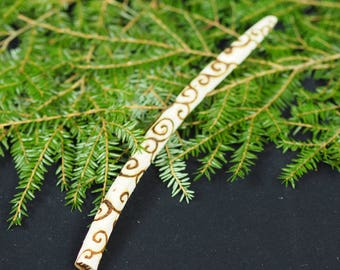 English White Willow Spiral Wand - with Bag - Seership & Divination -  for Pagans, Wiccans, Witchcraft, Ritual, Magic, Pyrography