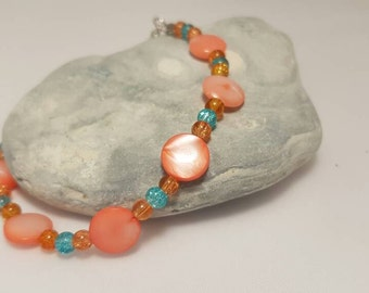 End of salmon color mother of pearl - bracelet